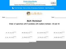 Order of Operations with 4 Problems with Numbers Between -10 and 10: Part 6 Worksheet