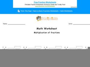 Multiplication of Fractions: Part 10 Worksheet