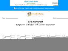 Multiplication of Fractions with a Common Denominator: Part 1 Worksheet