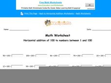 Horizontal Addition of 100 to Numbers Between 1 and 100: Part 2 Worksheet