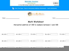 Horizontal Addition of 100 to Numbers Between 1 and 100: Part 1 Worksheet