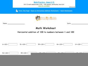Horizontal Addition of 100 to Numbers Between 1 and 100: Part 5 Worksheet