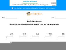 Subtracting Two Negative Numbers Between -100 and 100 with Decimals: Part 3 Worksheet