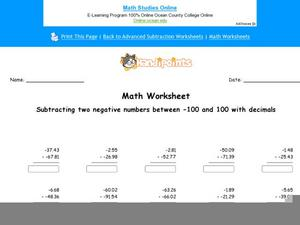 Subtracting Two Negative Numbers Between -100 and 100 with Decimals: Part 2 Worksheet