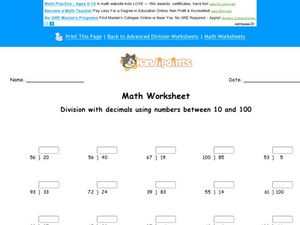 Division With Decimals: 10-100 Worksheet
