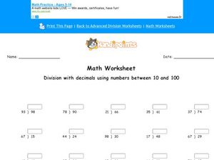 Division With Decimals: Numbers 10-100 Worksheet