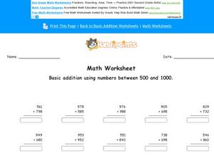 Math Worksheet:  Basic Addition with Numbers Between 500 and 1000 Worksheet