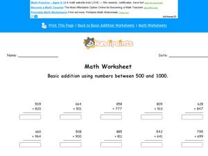 Math Worksheet:  Basic Addition with Numbers Between 500 and 1000, #2 Worksheet