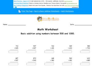 Math Worksheet: Basic Addition with Numbers Between 500 and 1000, #3 Worksheet
