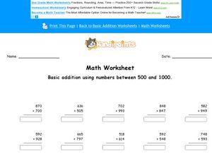 Math Worksheet: Basic Addition with Numbers Between 500 and 1000, #4 Worksheet