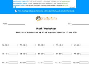 Horizontal Subtraction of 10, Numbers  10-100 Worksheet