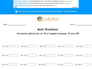 Horizontal Subtraction of 10 of Numbers Between 10 and 100 Worksheet