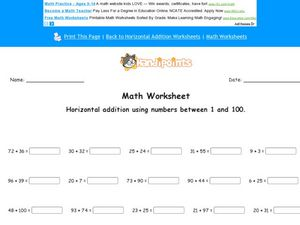 Horizontal Addition Using Numbers Between 1-100 Worksheet
