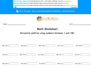 Horizontal Addition Using Numbers 1-100: Worksheet 2 Worksheet