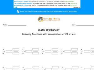 Reducing Fractions With Denominators of 20 or Less Worksheet