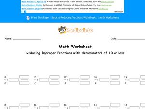 Reducing Improper Fractions with Denominators of 10 or Less Worksheet
