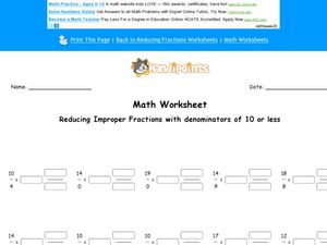 Reducing Improper Fractions with a Denominator of 10 or Less: Worksheet 2 Worksheet