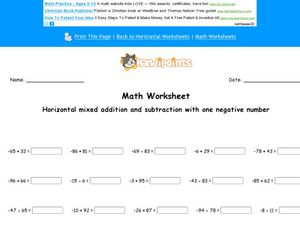 Horizontal Mixed Addition and Subtraction Problems Worksheet