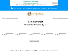 Horizontal Multiplication by 12: Part 6 Worksheet