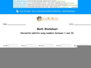 Horizontal Addition Using Numbers Between 1-10: part 5 Worksheet