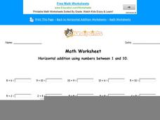 Horizontal Addition Using Numbers Between 1 and 10: Part 4 Worksheet