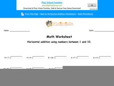 Horizontal Addition Using Numbers Between 1 and 10: Part 2 Worksheet