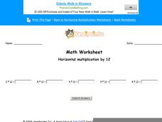 Horizontal Multiplication by 12: Part 9 Worksheet