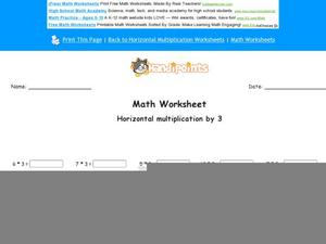 Horizontal Multiplication by 3: Part 4 Worksheet