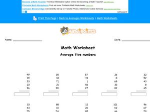 Average Five Numbers: Worksheet 2 Worksheet