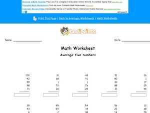 Average Five Numbers: Worksheet 3 Worksheet