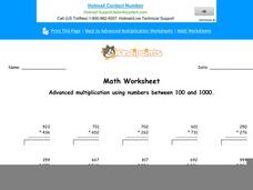 Advanced Multiplication Using Numbers Between 100 and 1000: Part 8 Worksheet