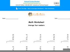Average Four Numbers: Part 6 Worksheet