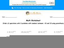 Order of Operations with 3 Problems with Numbers Between -10 and 10 Using Parenthesis: part 10 Worksheet