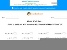Order of Operations with 3 Problems with Numbers Between -100 and 100: Part 2 Worksheet