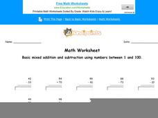 Basic Mixed Addition and Subtraction Using Numbers Between 1 and 100: Part 10 Worksheet