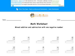 Add and Subtract Using 1 Negative Number Worksheet