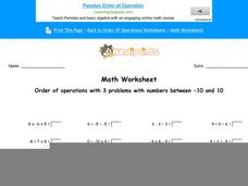Order of Operations with 3 Problems with Numbers Between -10 and 10: Part 9 Worksheet