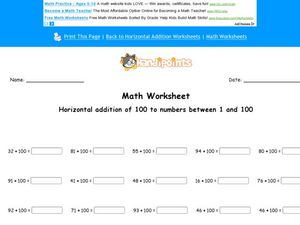 Horizontal Addition of 100 to Numbers Between 100 Worksheet