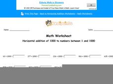 Horizontal Addition of 1000 to Numbers Between 1 and 1000: Part 1 Worksheet