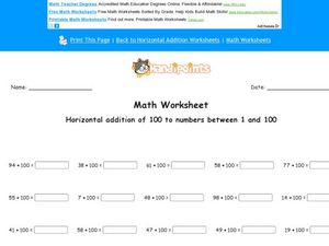 Horizontal Addition of 100 to Numbers Between 1 and 100 Worksheet