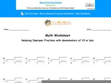Reducing Improper Fractions with Denominators of 10 or Less: Part 7 Worksheet