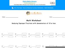 Reducing Improper Fractions with Denominators of 10 or Less: Part 8 Worksheet