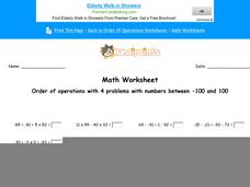 Order of Operations with 4 Problems with Numbers Between -100 and 100: Part 7 Worksheet