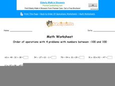 Order of Operations with 4 Problems with Numbers Between -100 and 100: Part 9 Worksheet