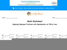 Reducing Improper Fractions with Denominators of 100 or Less: Part 1 Worksheet