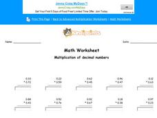 Multiplication of Decimal Numbers: Part 4 Worksheet