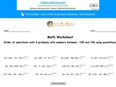 Order of Operations with 4 Problems with Numbers Between -100 and 100 Using Parenthesis: Part 5 Worksheet