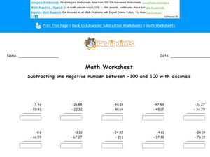 Math Worksheet: Subtracting 1 Negative Decimal Number Worksheet