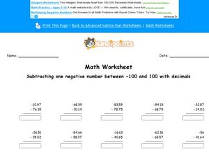 Math Worksheet: Subtracting 1 Negative Decimal Number #3 Worksheet