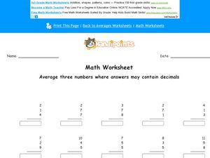 Math Worksheet: Averaging 3 Numbers #3 Worksheet